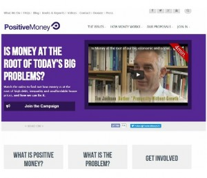 Positive Money homepage