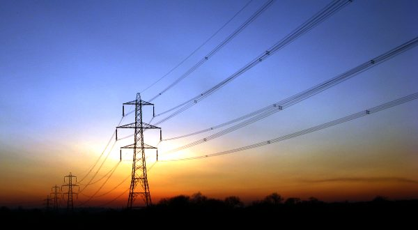 Pylons in twilight
